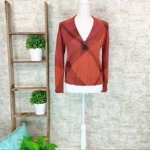 Burberry l Nova Check Wool Cashmere Cardigan Sz L